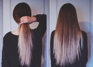 Омбре на темные волосы ниже плеч